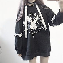 París chica Harajuku estampado de encaje para mujer pulóver Hoodies gótico Punk Oversize terciopelo Sudadera con capucha pulóver Streetwear