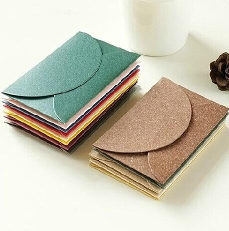 10pcs/lot Colored Kraft Paper Envelopes Simple Love Retro Envelope Small Paper Envelope Sobres Invitacion