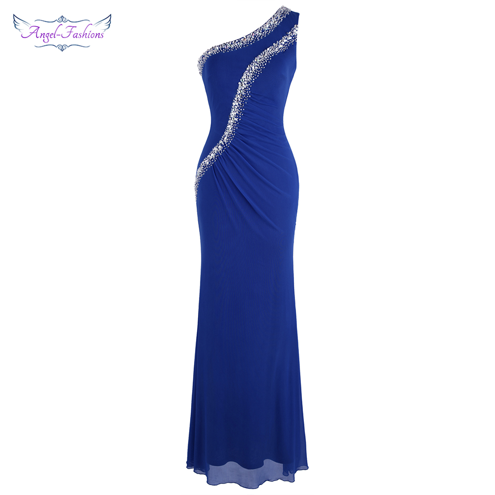 Angel-fashions One Shoulder Beading Pleated Evening Dress Long Tulle Formal Party Gown Blue 485