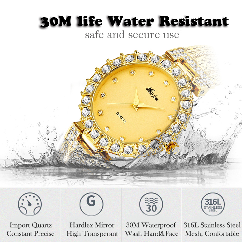 MISSFOX Women Watches Luxury Brand Watch Bracelet Waterproof Big Lab Diamond Ladies Wrist Watches For Women Quartz Clock Hours 2
