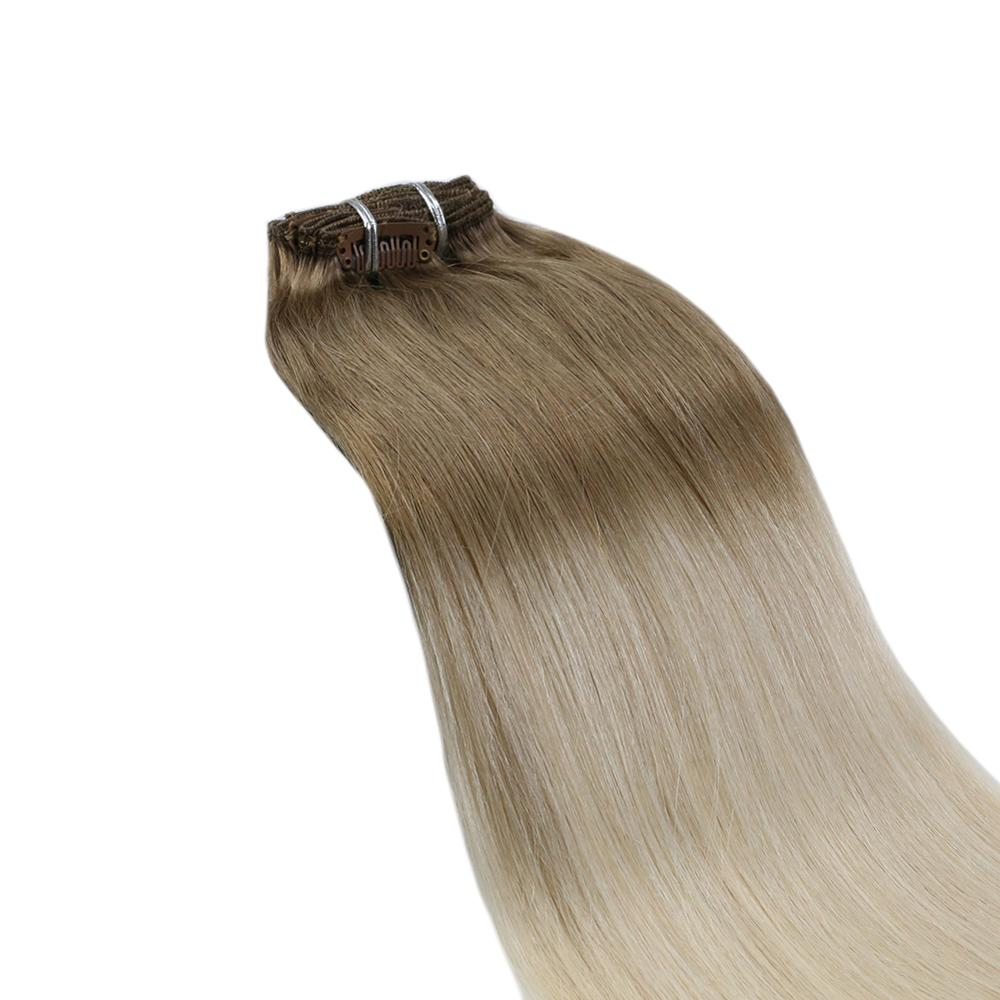 Ugeat Clip Hair Extensions Real Human Hair 14-24inch 120g/7pcs Machine Remy Hair Natural Straight Full Head Clip in Extensions