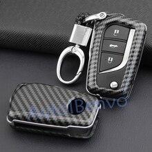 Автомобильный ключ из углеродного волокна для Toyota Camry CH-R флип хороший прочный брелок для ключей