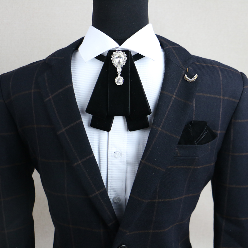 Fashion New Retro Vintage Design Bowtie Handmade Men's Rhinestone British Dress Wedding Groom Velvet Bow Tie For Men Accessories