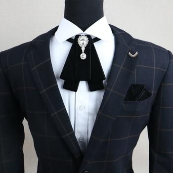 Fashion New Retro Vintage Design Bowtie Handmade Men's Rhinestone British Dress Wedding Groom Velvet Bow Tie for Men Accessories yellow bow tie front strapless zip back design midi dress