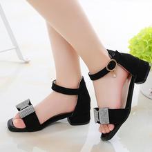 Girls Rhinestone Bow High-Heeled Sandals Princess Dancing Summer Pu Leather Shoe Big Girl 3 4 5 6 7 8 9 10 11 12 Year Old