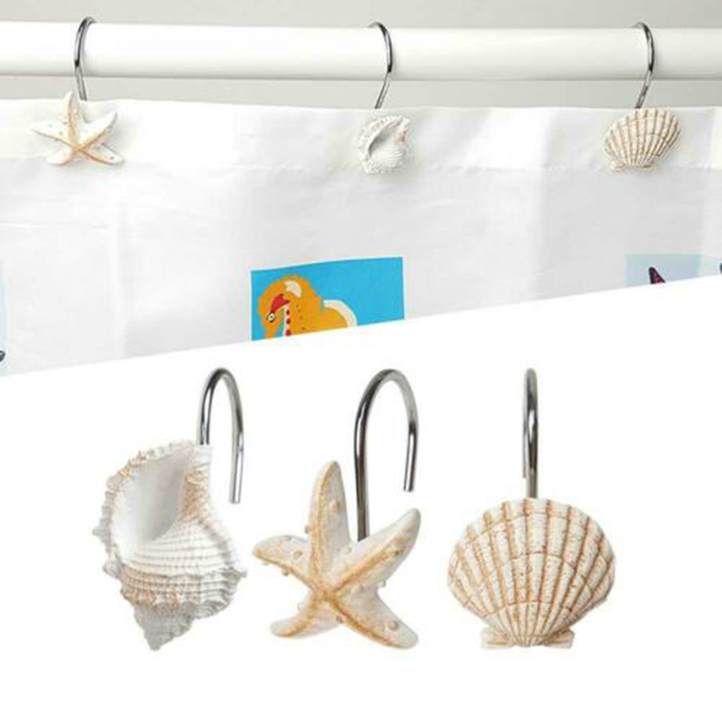 12PCS Anti Rust Shower Curtain Hooks Rings Seashell Glide Shower Curtain Hooks For Bathroom Decorative Window Hangings Holder
