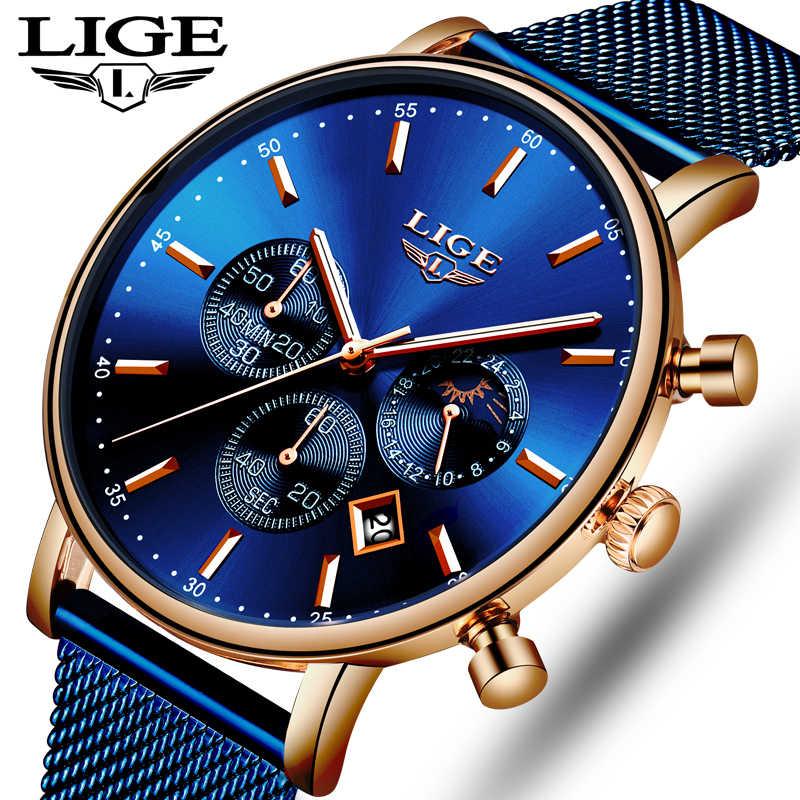 LIGE Novo Azul Cinto de Malha de Moda Quartzo Casuais Relógio de Ouro Dos Homens Relógios Top Marca de Luxo À Prova D' Água Relógio de Pulso Relogio masculino