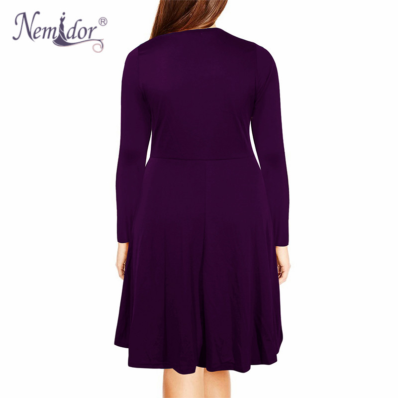 Nemidor Women's Round Neck Summer Casual Plus Size Fit and Flare Midi Dress with Pocket (12)
