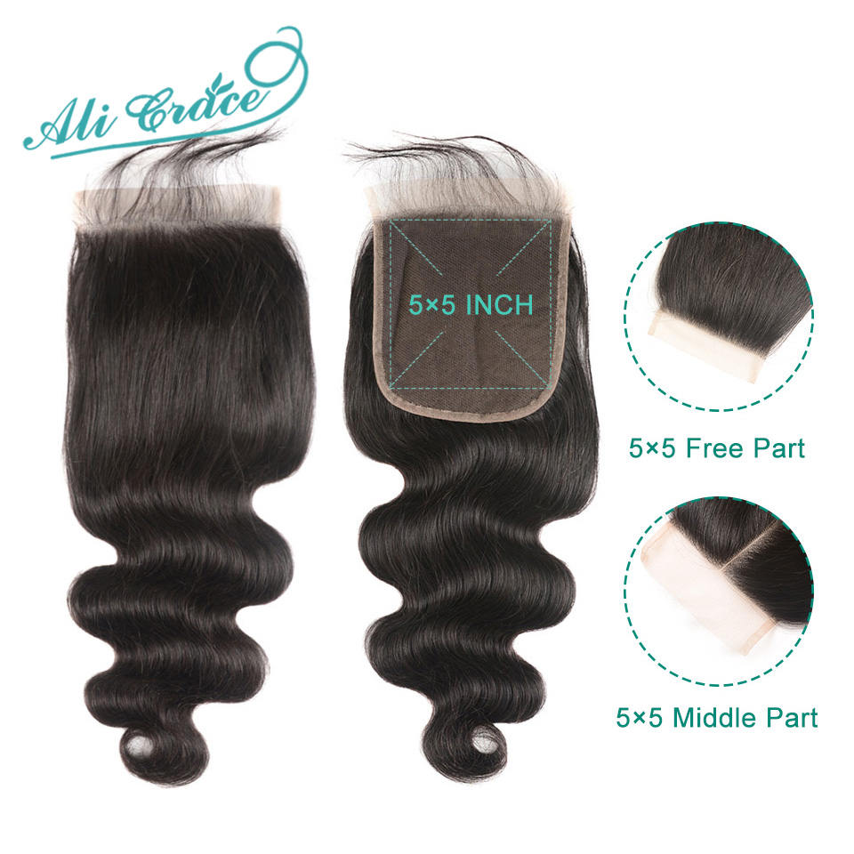 Image 4 - Ali Grace Hair Brazilian Body Wave 3 Bundles With 5x5 Lace Closure Human Hair Bundles with Closure Remy Hair Middle Free Part-in 3/4 Bundles with Closure from Hair Extensions & Wigs