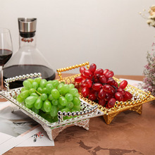 HeyMamba Silver Gold Fruit Tray Dessert Plate Zinc Alloy Serving Tray Metal Cake Stand Wedding Party Decoration Dishes 35X21X9cm