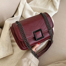 цена на Solid Color Pu Leather Crossbody Bags for Women 2020 Simple Style Small Chain Shoulder Messenger Bag Travel Brand Handbags