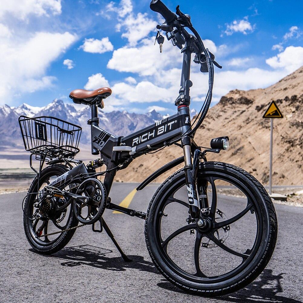 Электрический велосипед richbit складной 48 В 8 А/ч 7 скоростей