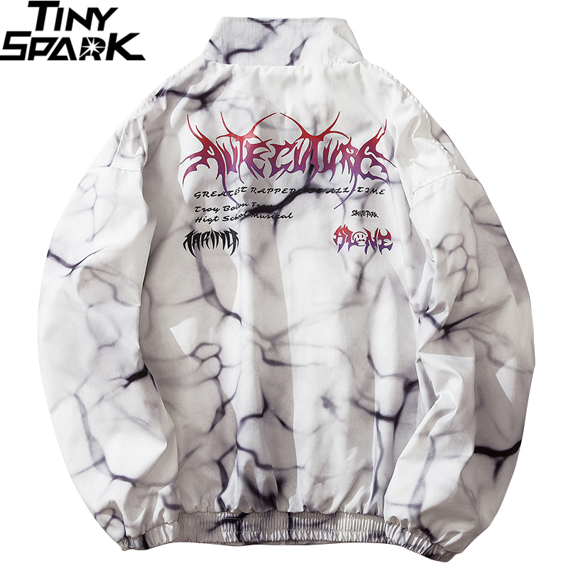 Men Windbreaker Jacket Coat Hip Hop Dark Illusion Graffiti Jacket Streetwear Casual 2020 Spring Zipper Track Jacket Hipster