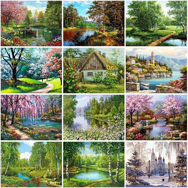 Бриллиантовая живопись пейзаж с виллой DIY 5D, полноформатная Круглая Мозаика из смолы, пейзаж, алмазная вышивка, картина стразы, домашний дек...