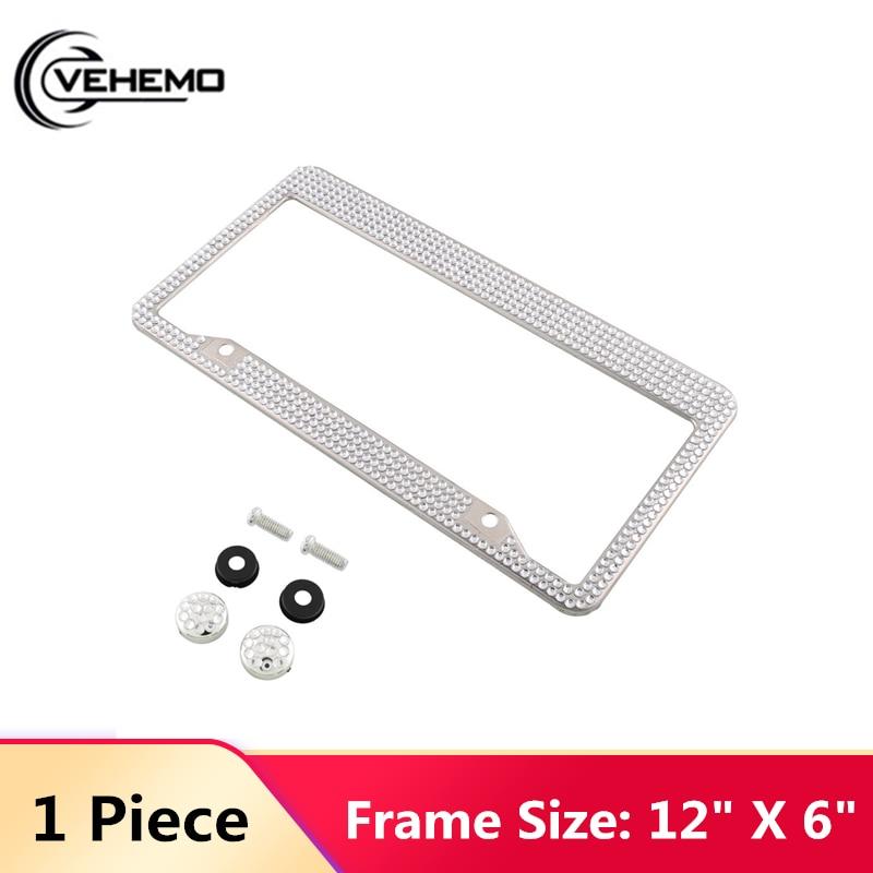 Steel Metal Noble Luxury White Silver Bling Glitter Crystal Car License Plate Frame 12