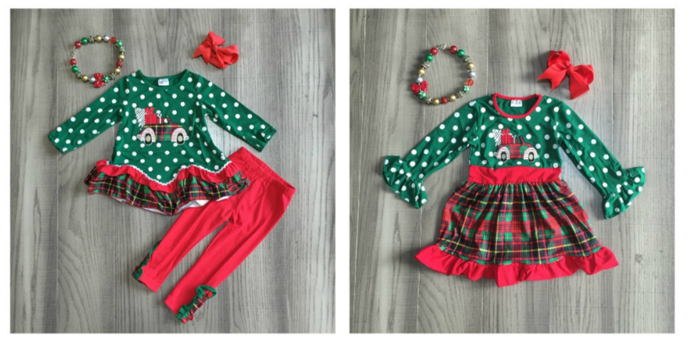 Girlymax Christmas truck dark green Fall/Winter baby girls plaid outfits pants set clothes ruffles boutique match accessories 1