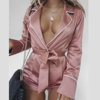 Women Sexy Satin Short Romper Jumpsuit Long Sleeve Clubwear Bodycon Playsuit Belts Bodysuit Party Body Clothes S-2XL 2020 New 1