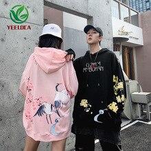 2019 Dropshipping Chinese Wind Crane Bloemenprint Mannelijke Vrouwelijke Retro Herfst Winter Hoodie Sweatshirt Hip Hop Losse Paar Hoodie