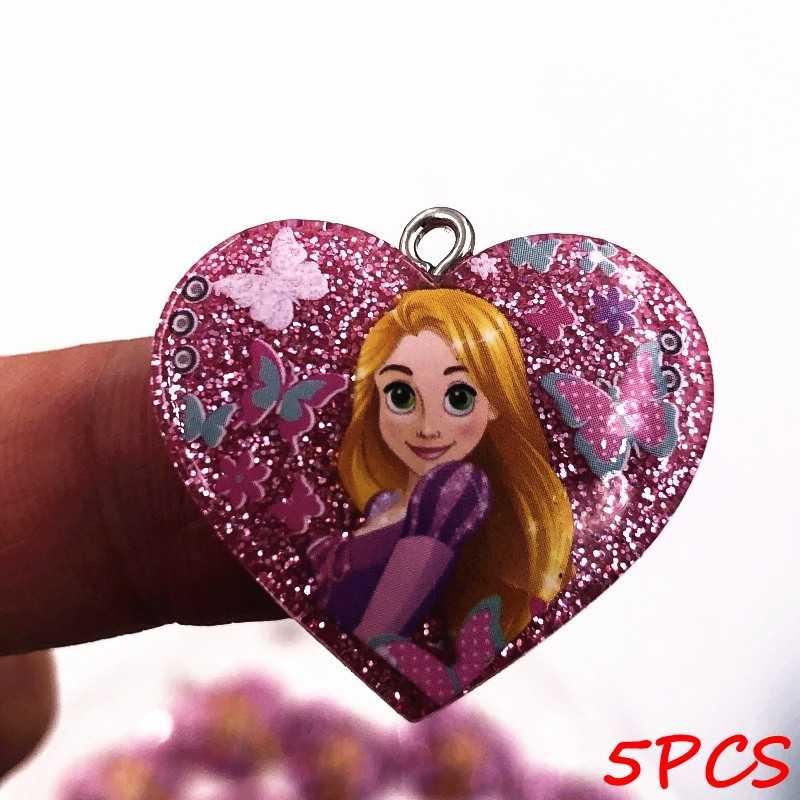 5 pz/set Cinderella Ariel Principessa Resina Shinning Posteriore Piana Bigiotteria Ciondolo Zaino Ragazze FAI DA TE Collana Portachiavi Cassa Del Telefono