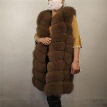 KEJINYUAN real Fur Fox long Vest natural raccoon Waistcoat s
