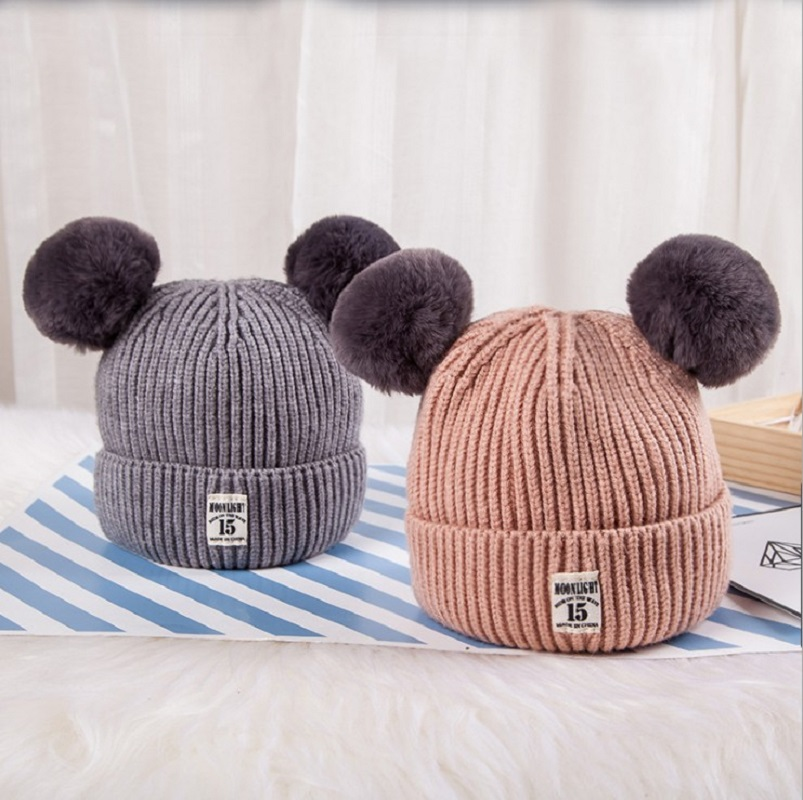 Winter Parent-child  Double Plush Ball Cap Hat For Kids Baby Girls Knitted Beanies Cap Hat Thick Female Autumn Fur Pom Ski Cap