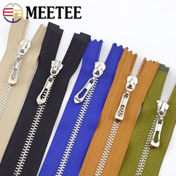 5pcs Meetee 15-70cm Closed&open Zip 3# Metal Zippers Auto Lock for Bags Purse Wallet Clothing Zipper Repair Kit Sewing Accessory