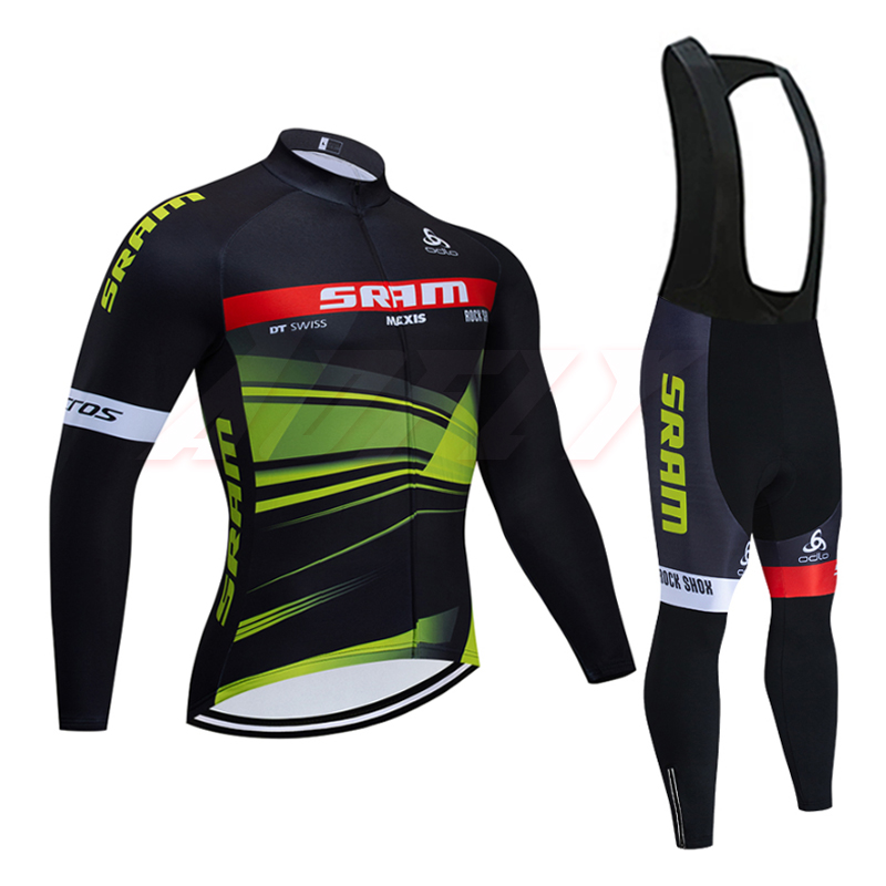 20 Winter TEAM SRAM pro cycling jersey Ropa Ciclismo Thermal fleece bicycling wear Maillot Bottoms 9D Pad thin bike pants suit