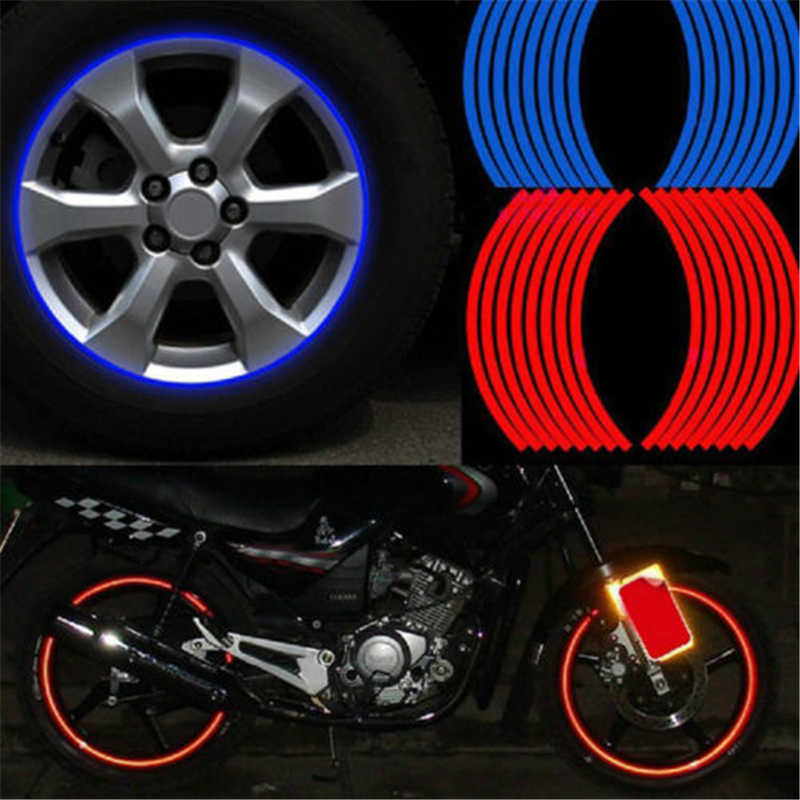 "16PCS 10"" Motocross Motorcycle Accessories Wheel Sticker Reflective Decals Rim Tape Bike Car Styling For YAMAHA HONDA Harley BMW"