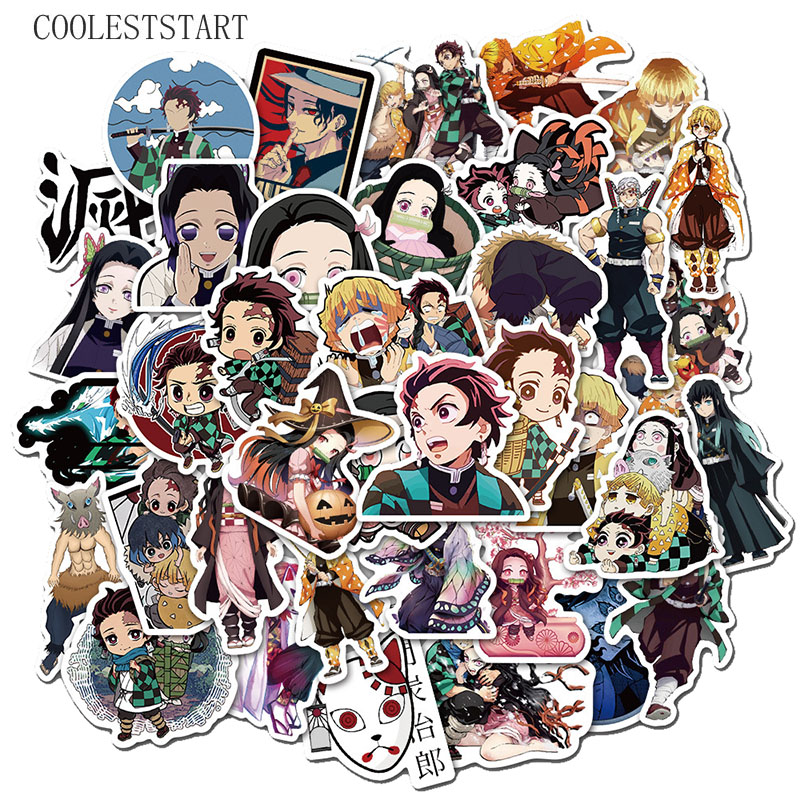50Pcs/pack Demon Slayer Kimetsu No Yaiba Stickers For Motorcycle Skateboard Bicycle Laptop Suitcase Guitar Car Anime Toy Sticker