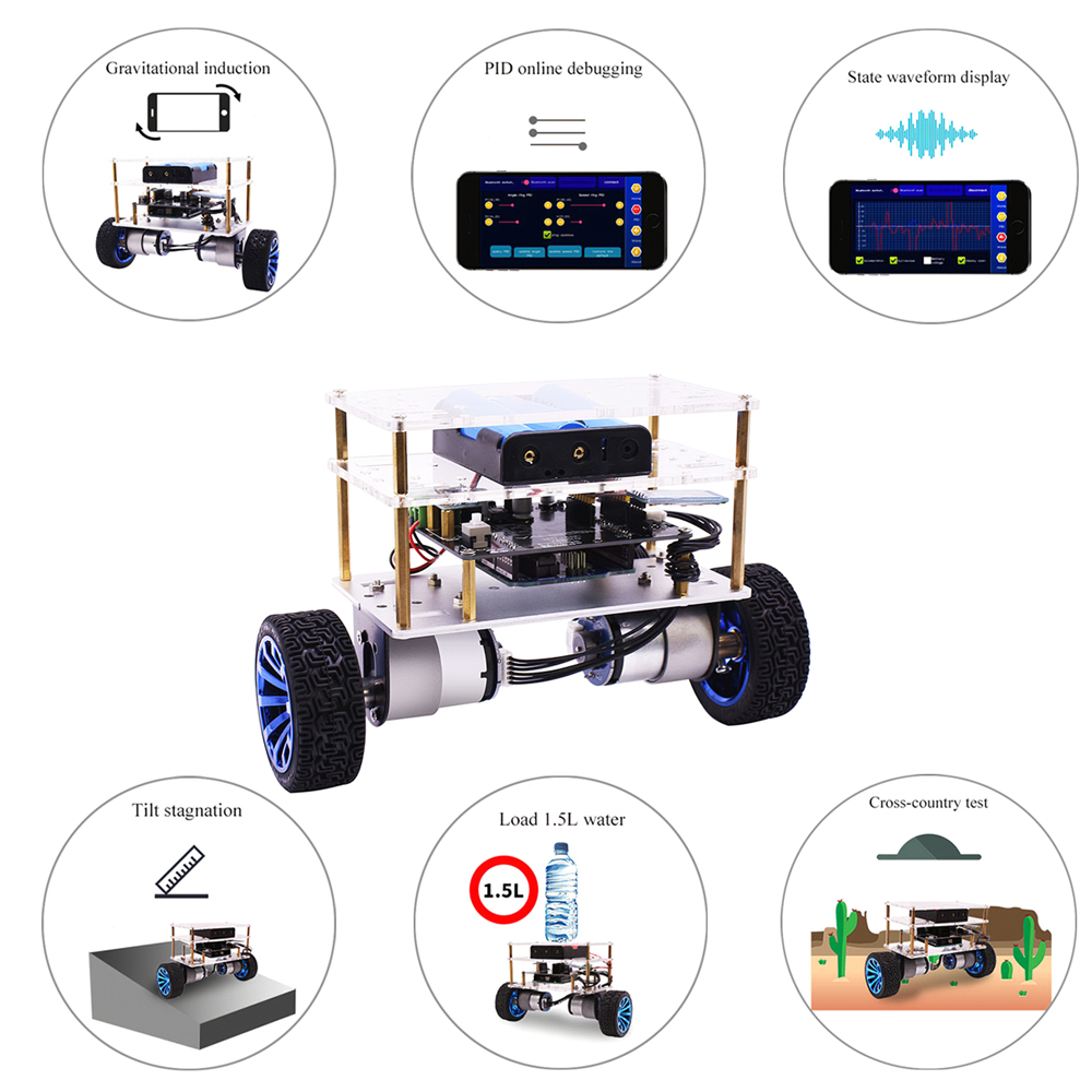 Véhicule d'équilibre de Robot intelligent amélioré de haute qualité avec méga InstaBots V4 Kit APP BT contrôle pour Robot Arduino apprendre le codage