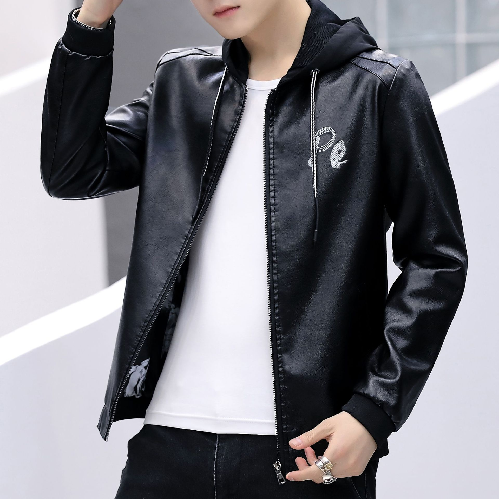 2019 Spring MEN'S Leather Coat Youth New Style Slim Fit Hooded Embroidery Leather Jacket MEN'S Coat