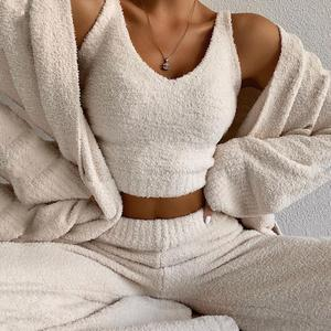 Fluffy Two Piece Set Lounge Sexy 2 Piece Set Women Sweater knit Set Tank Top And Pants Casual Homewear Outfits Home Suit 2020