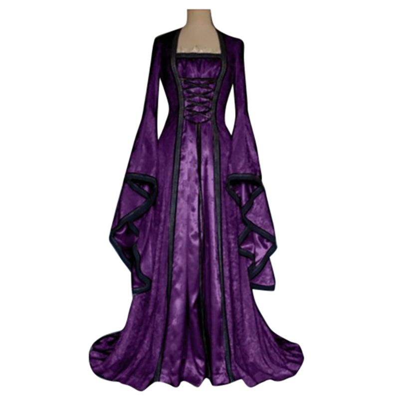 Gothic Medieval Dress Cosplay Carnival Halloween Costume Women Retro Court Long Robe Noble Princess Palace Party Dress W