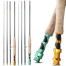 Sougayilang vara de pesca com mosca, portátil, 4 seções, 2.7m, cabo de cortiça, fibra de carbono, vara de pesca ao ar livre, robalo pólo