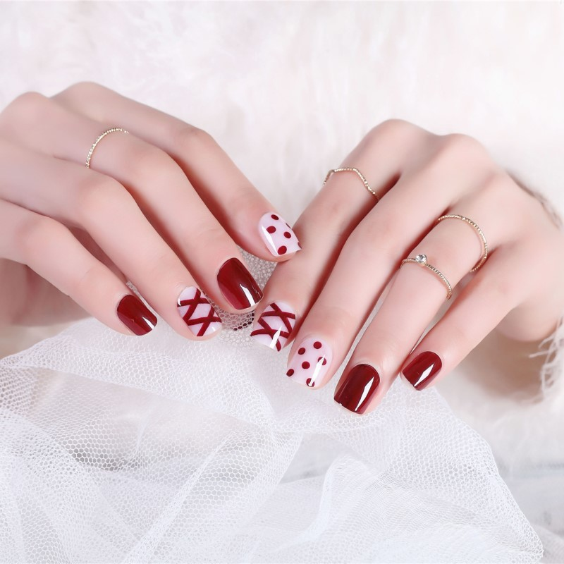 Short Fake Nails Red Wave Point Ribbon Red INS Wind Europe And America Network Matchmaker Wear Manicure Fake Nails Stickers 55