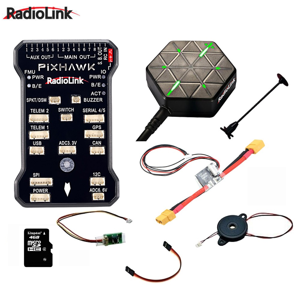 Radiolink Pixhawk PIX APM Flight Controller Combo with GPS Holder M8N GPS Buzzer 4G SD Card Telemetry Module For FPV Drones(China)