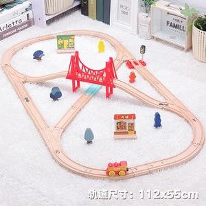 Image 2 - Детский набор игрушечного электрического поезда, магнитный игрушечный поезд с литыми отверстиями, деревянная железная дорога Bri o, трек для поезда, игрушки для детей, подарки
