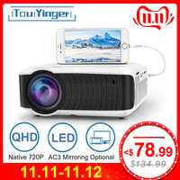 TouYinger T4 mini LED projector 1280x720 Portable Beamer Home Cinema (Optional Wired Sync Display For Iphone Ipad Phone Tablet)