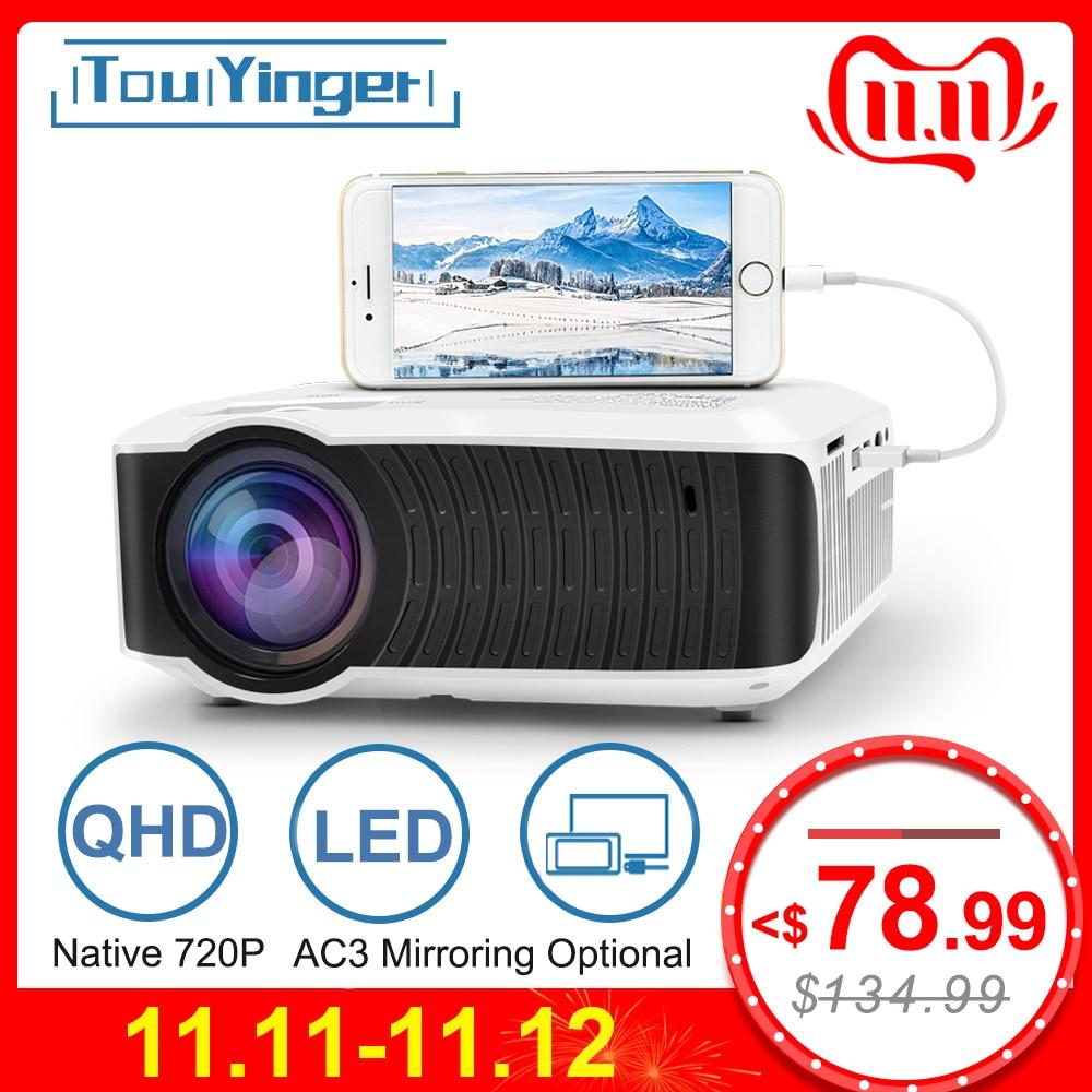 TouYinger T4 mini projecteur LED 1280x720 Portable cinéma maison (affichage de synchronisation filaire en option pour Iphone Ipad téléphone tablette)