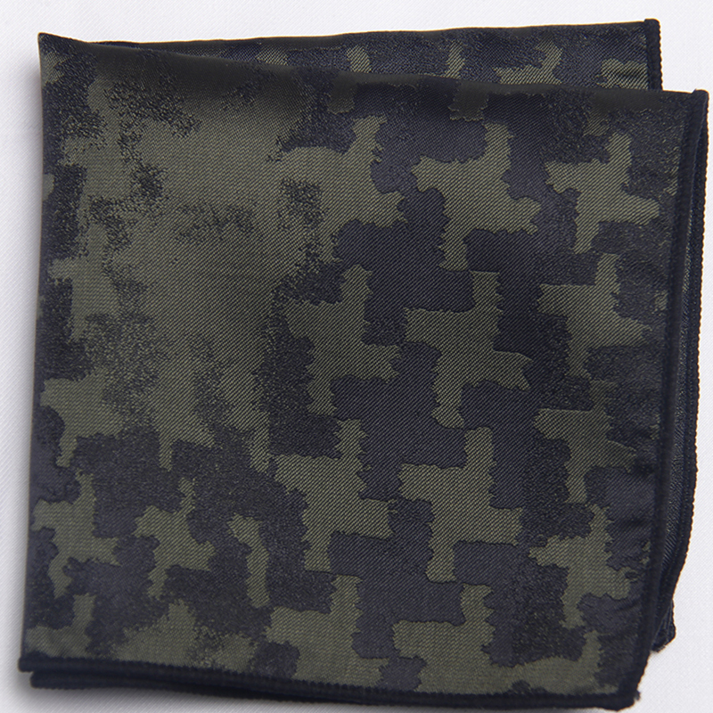 Army Green Patterned Pocket Square With Patterns Handkerchief