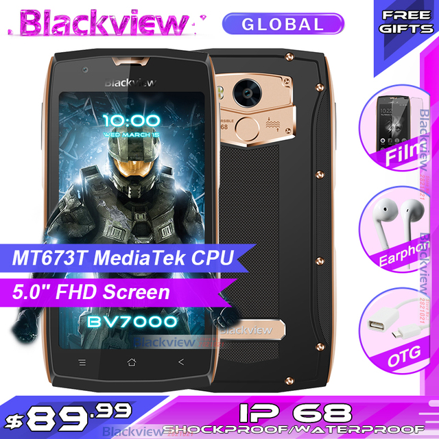 "Blackview BV7000 Mobile Phone MT6737T Quad Core 5.0"" FHD 2GB 16GB IP68 Waterproof Glonass NFC 4G Fingerprint Smartphone"