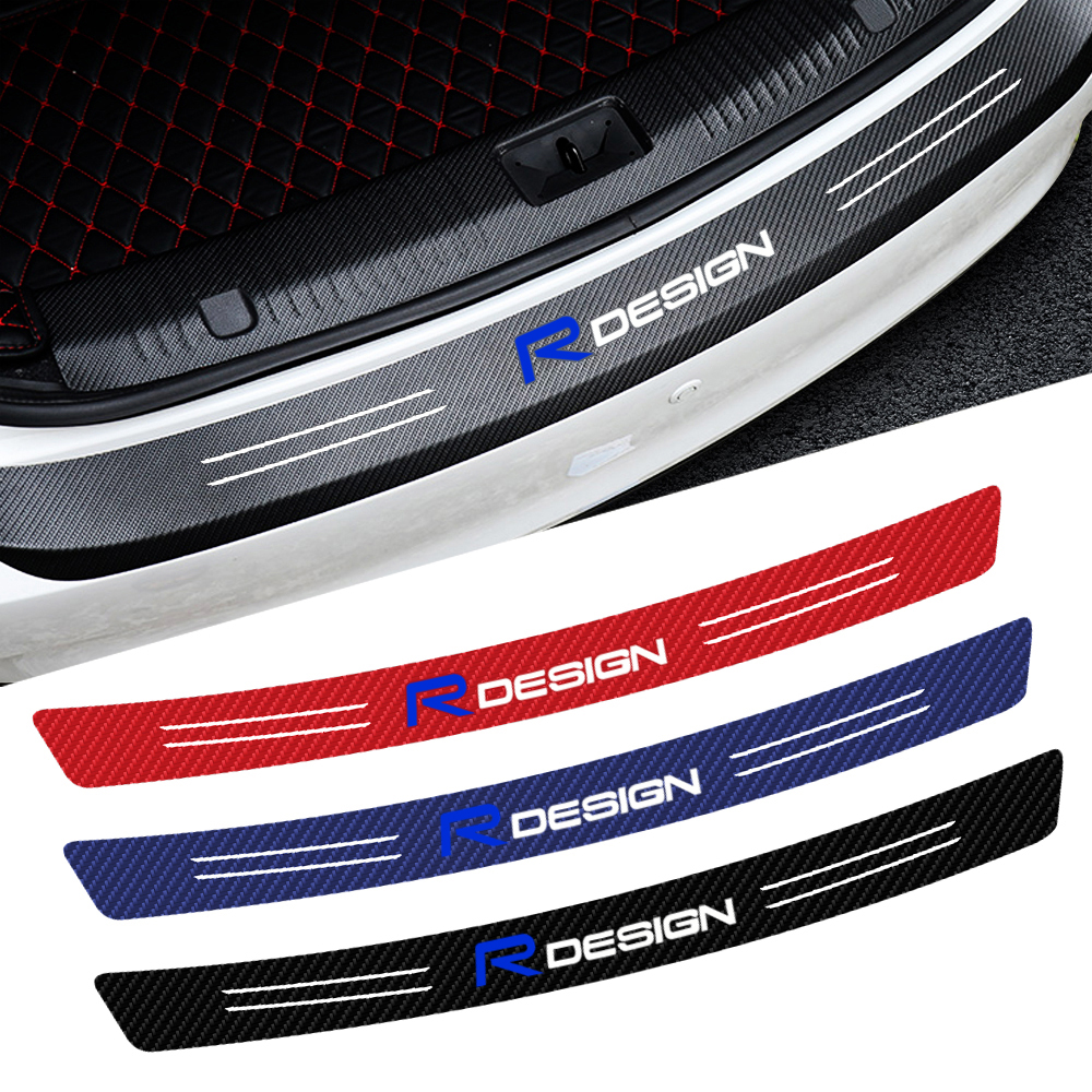 Carbon Fiber Rdesign Emblem Car Trunk Rear Bumper Sticker For VOLVO R Design S60 V60 S80 XC60 XC90 XC70 Accessories