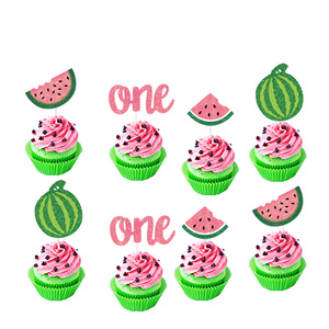 Image 5 - Leeiu Fruit Theme Watermelon Party Decoration Birthday Banners Watermelon Cake Toppers Baby Shower 1st Birthday Party Supplies