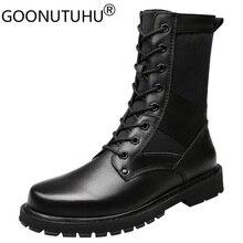 2020 גברים של חורף מגפיים מזדמנים אמיתי עור Combat אתחול זכר סתיו שחור צבא נעלי איש נחמד צבאי מגפי עבור גברים גדול גודל