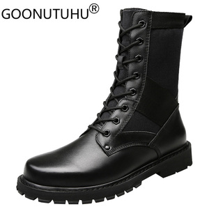 Image 1 - 2020 Mens Winter Boots Casual Genuine Leather Combat Boot Male Autumn Black Army Shoes Man Nice Military Boots for Men Big Size