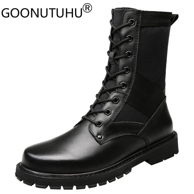 2020 Mens Winter Boots Casual Genuine Leather Combat Boot Male Autumn Black Army Shoes Man Nice Military Boots for Men Big Size