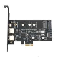 Dual USB3.0 1 Port Type-C M.2 PCIe Adapter M2 SSD SATA B Key to PCI-E 3.0 Converter Card for NGFF 2280 2260 2242 2230