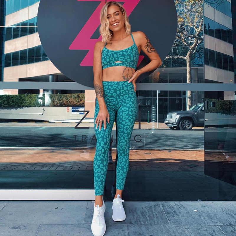 2019 nuevo conjunto de Yoga sin espalda estampado de alta cintura de retazos mono de Fitness elástico ropa de gimnasio traje deportivo pantalones de Yoga Push Up