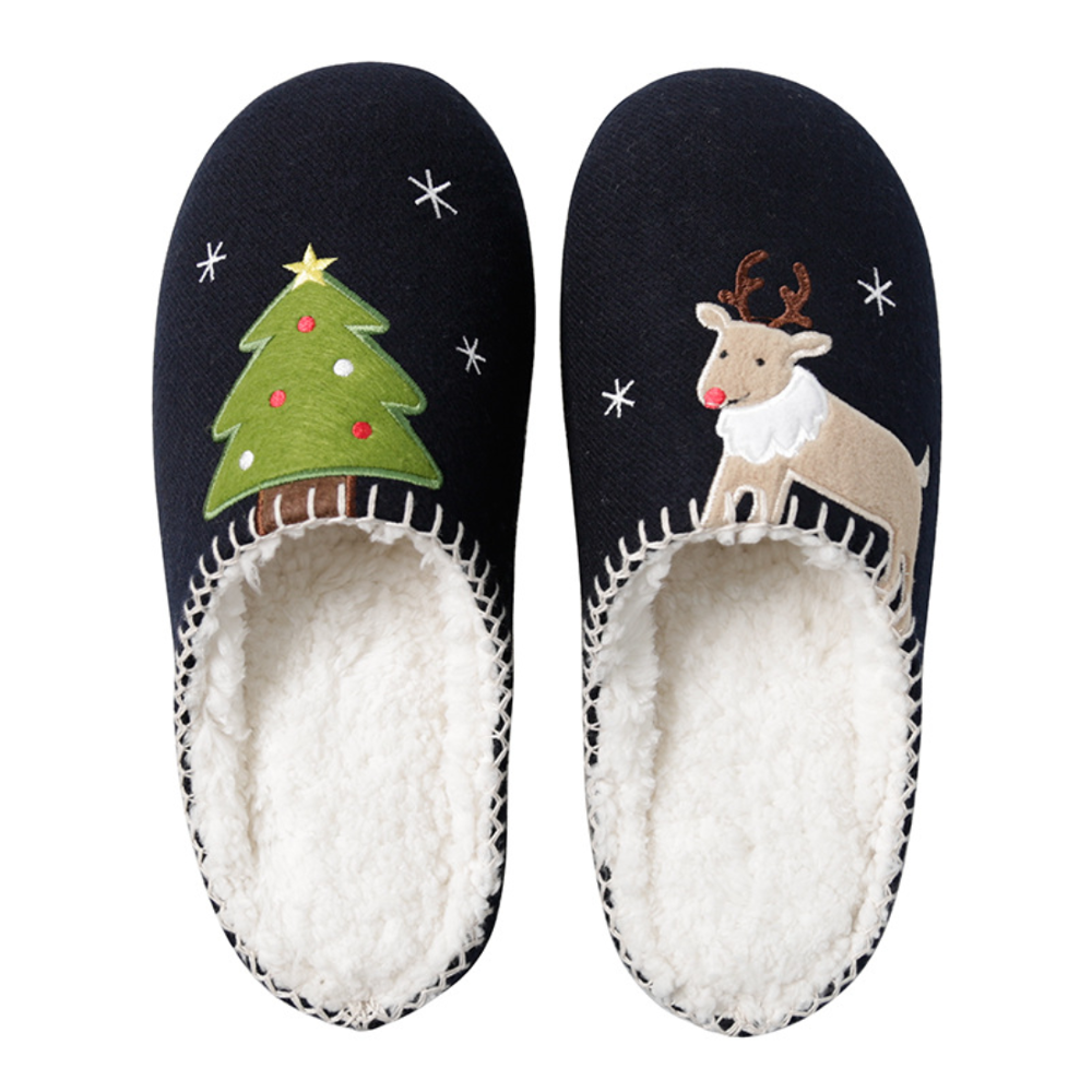 Women's Christmas Winter Sandals Couple Slippers Flip-Flops Cute Slippers Flat Slide Furry Slippers Slippers Large Size 46