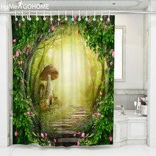 цена на Bathroom Shower Curtain Boho 3D Natural Forest Tree Hole Shower Curtains Bathroom Curtain Mushroom Flower Vine Bath Curtain Chic